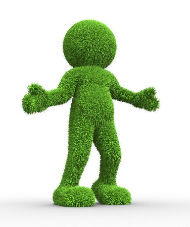 topiary: 3d people - human character in grass texture  3d render illustration