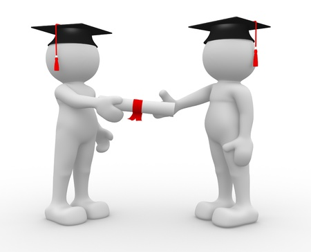 toga: La gente 3d - car�cter humano graduar su diploma de hacer ilustraci�n 3d Foto de archivo