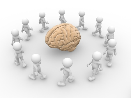 3d character: 3d people - human character and yellow brain  3d render illustration