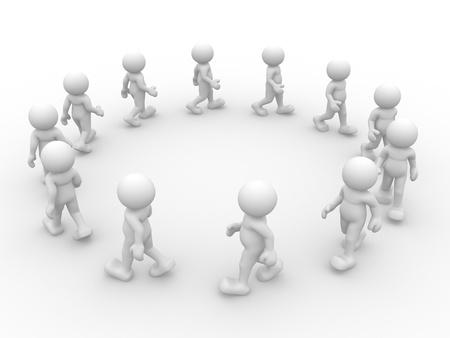going in: 3d gente car�cter humano va en c�rculos ilustraci�n 3d