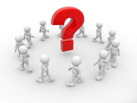 question: 3d people - human character and question mark  3d render illustration Stock Photo