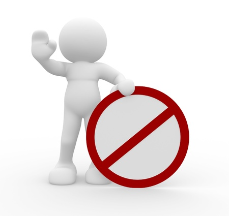 restrict: 3d people - human character in warning pose with  do not  symbol  3d render illustration  Stock Photo