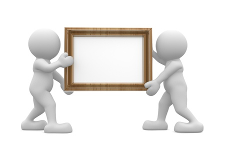 3d people human character carrying a picture frame This is a 3d render illustration illustration