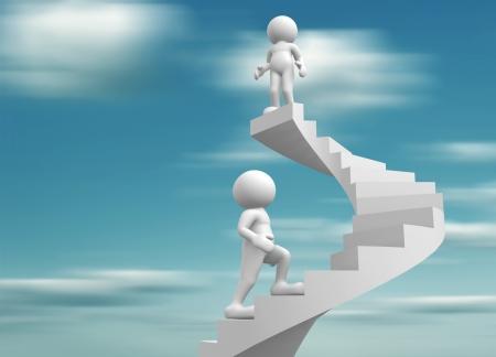 3d people-human character clib the spiral staircase - stair  3d render illustration Stock Illustration - 14768000