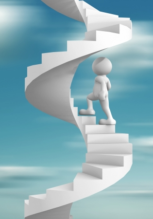 step up: 3d people - human character climb the spiral staircase - stair  3d render illustration