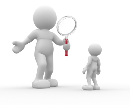 man close up: 3d people- human character with magnifier glass  This is a 3d render illustration Stock Photo