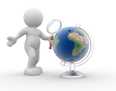 3d people- human character with magnifying glass searching globe  This is a 3d render illustration Stock Illustration - 14767494