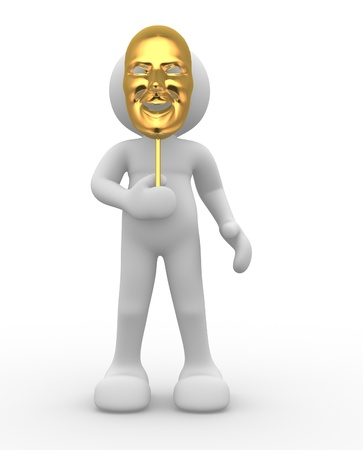 drama masks: 3d people - human character with mask  3d render illustration Stock Photo