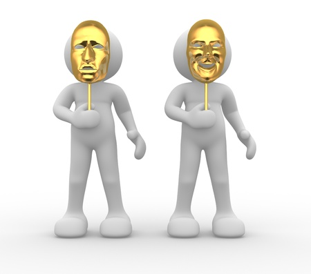 puppet theatre: 3d people - human character with mask Stock Photo