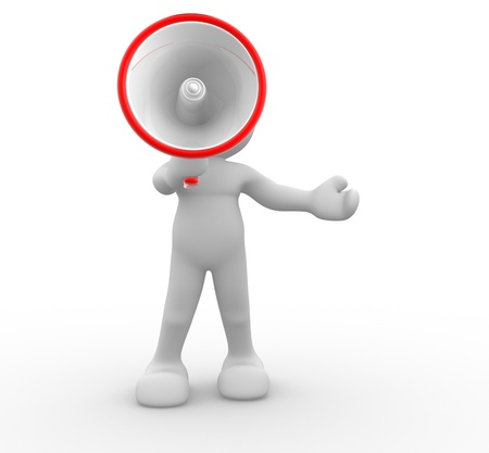 assert: 3d people- human character with megaphone This is a 3d render illustration  Stock Photo