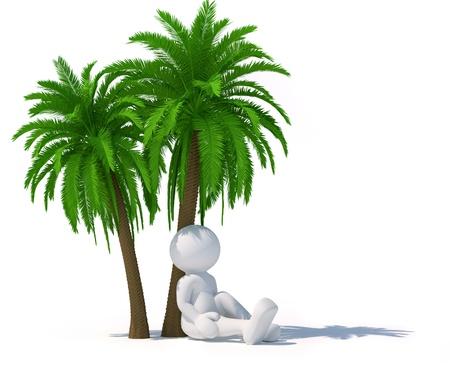 titeres: 3d gente - car�cter humano sentado bajo un �rbol de palma ilustraci�n 3d