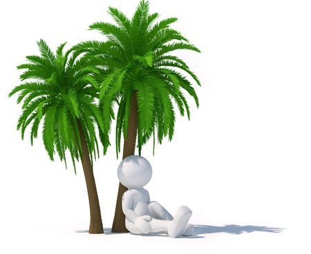 Persone 3d - carattere umano seduto sotto un albero di palma rendere l'illustrazione 3d