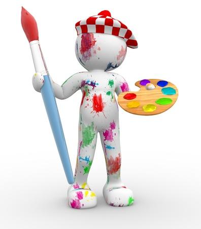 3d people- human character - painter  3d render illustration illustration