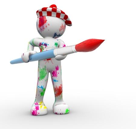 3d human: 3D people- human character- painter  3d render illustration Stock Photo