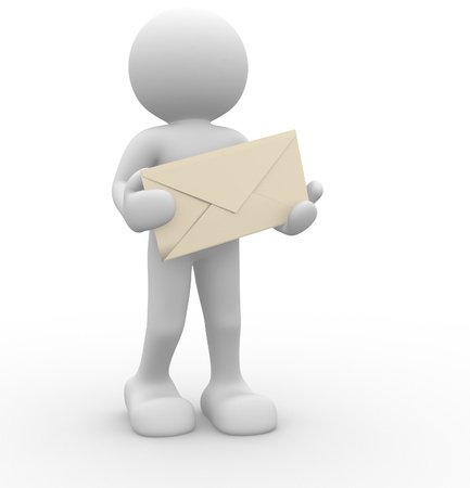 cartoon envelope: 3d people - human character and envelope  This is a 3d render illustration Stock Photo
