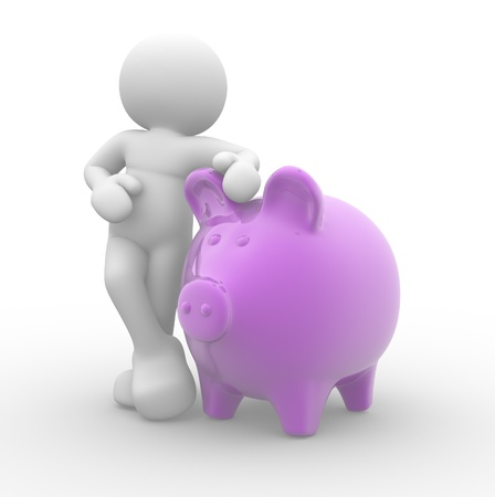 saving accounts:  3d people, human character supported and piggy bank - 3d render illustration