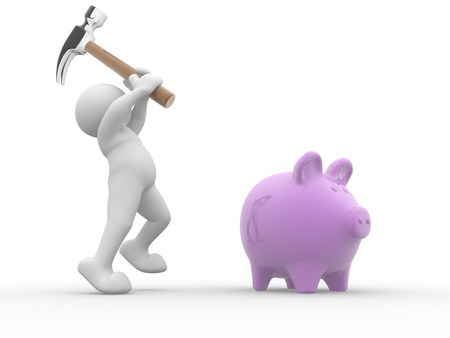 piggybank: 3d people - human character about to break his piggy bank with a hammer  3d render illustration Stock Photo