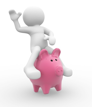 bank rate: 3d people - human character up a piggy bank  3d render illustration