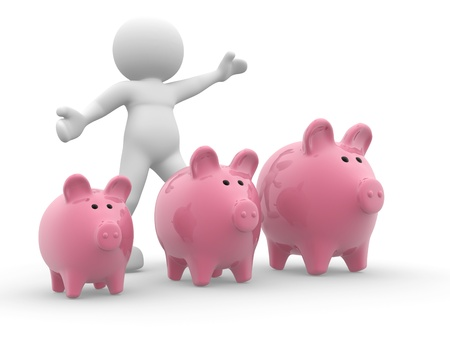 3d people- human character - and three piggy bank  3d render illustration illustration