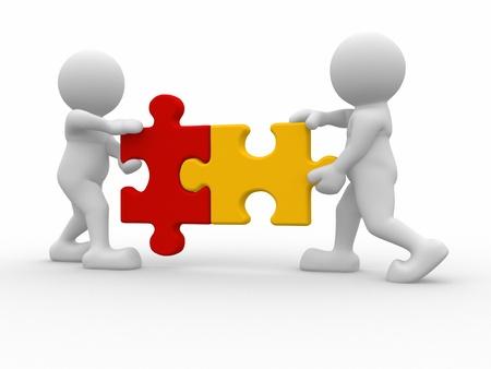 matching: Dos pedazos del rompecabezas persona a juego-Esta es una ilustraci�n 3d