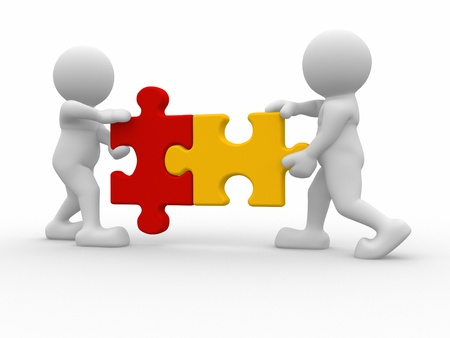 3d character: Two person matching puzzle pieces -This is a 3d render illustration  Stock Photo