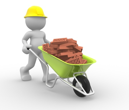 wheelbarrow: 3d people- human character with bricks in wheelbarrow - This is a 3d render illustration  Stock Photo