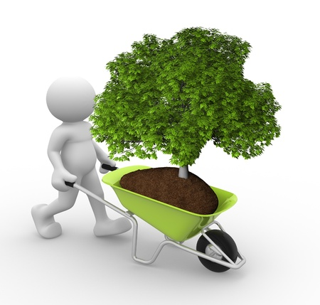 tree planting: 3d people - human character and earth with a tree green in wheelbarrow  3d render illustration Stock Photo