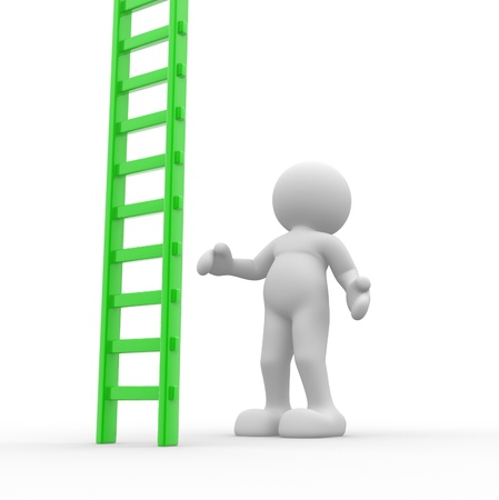3d people - human character and ladder  this is a 3d render illustration illustration