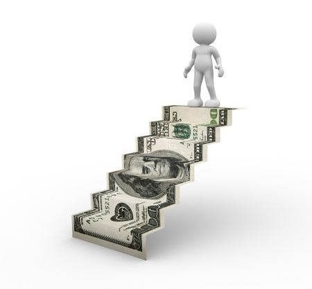 financial gains: 3d people - human character on ladder  3d render illustartion Stock Photo