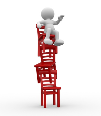 poise: 3d people - human character stand on three chairs in equilibrium  3d render illustration