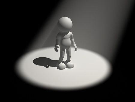 3d people - human character in the light reflector- spot  3d render illustration illustration