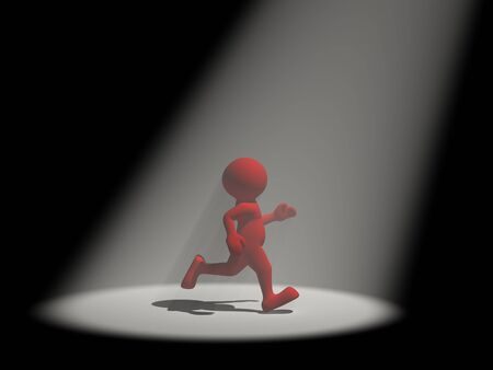 sported: 3d people - human character in the light reflector  3d render illustration Stock Photo