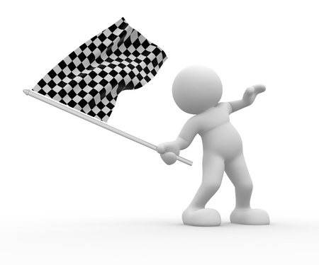 checker flag: 3d people - human character with flag on white background  3d render illustration Stock Photo