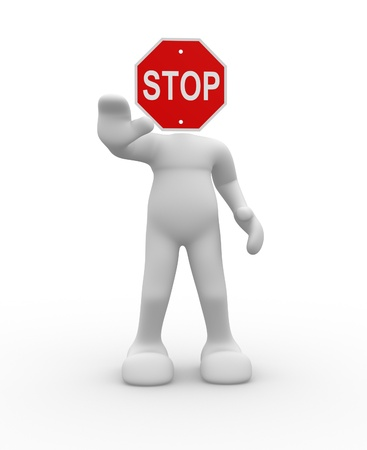 3d people- human character with stop sign - this is a 3d render illustration  illustration