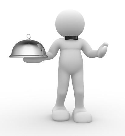 3d chef serving - this is a 3d render illustration  illustration
