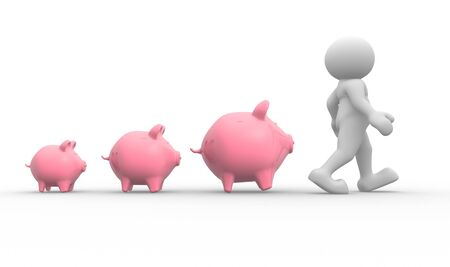 pound: 3d people - human character and piggy bank  3d render illustration Stock Photo