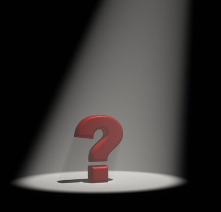 sported: Question mark under the spotlight  3d render illustration