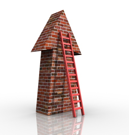 ladder of success: Stair leading an arrow - 3d render illustration
