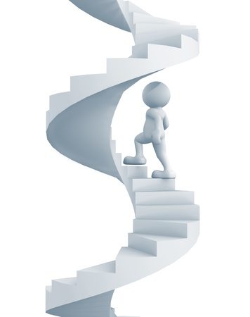 spiral staircase: 3d people - human character climb the spiral staircase - stair  3d render illustration