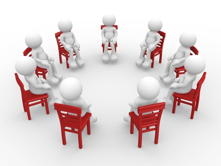 3d people - human character- stand in a circle on chairs and talking  3d render photo