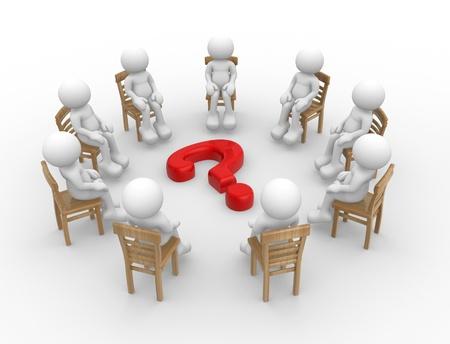 punto interrogativo: Rendering 3D - umani personaggio di persone sedute su sedie in cerchio con il punto interrogativo 3d render Archivio Fotografico