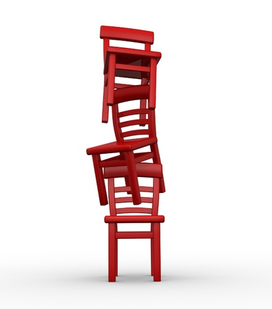 exactness: Three chairs in equilibrium on white background - 3d render