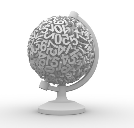 glob: Glob made of numbers - This is a 3d render illustration