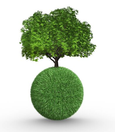 Tree growing on a sphere  This is a 3d render illustration illustration