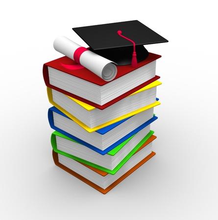 pile of books: Pila di libri con tappo di laurea e diploma - illustrazione 3d rendering Archivio Fotografico