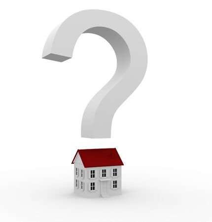 permit: White sign on a question over the house  3d render illustration