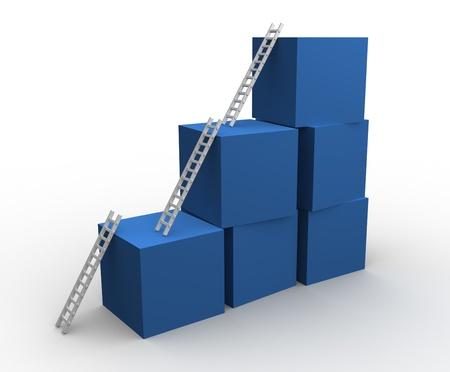obstaculo: Las escaleras apoyadas contra una torre - ilustración 3d Foto de archivo