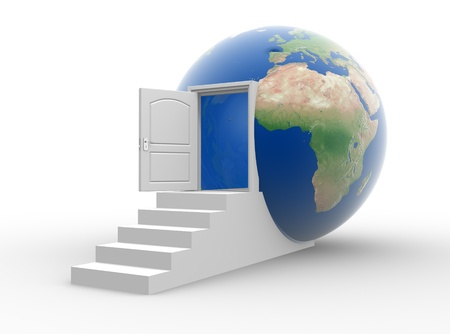 The door opened into a earth globe  3d render illustration illustration
