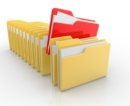 paperwork:  Folders with paper and one different  This is a 3d render illustration Stock Photo