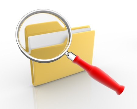coordinated: Folder with paper and magnifying glass  3d render illustration